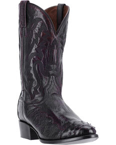 Dan Post Men's Pugh Black Smooth Ostrich Boots - Medium Toe, Black, hi-res