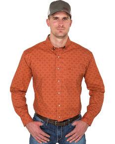Noble Outfitters Men's Burnt Sienna Geo Print Long Sleeve Western Shirt , Rust Copper, hi-res