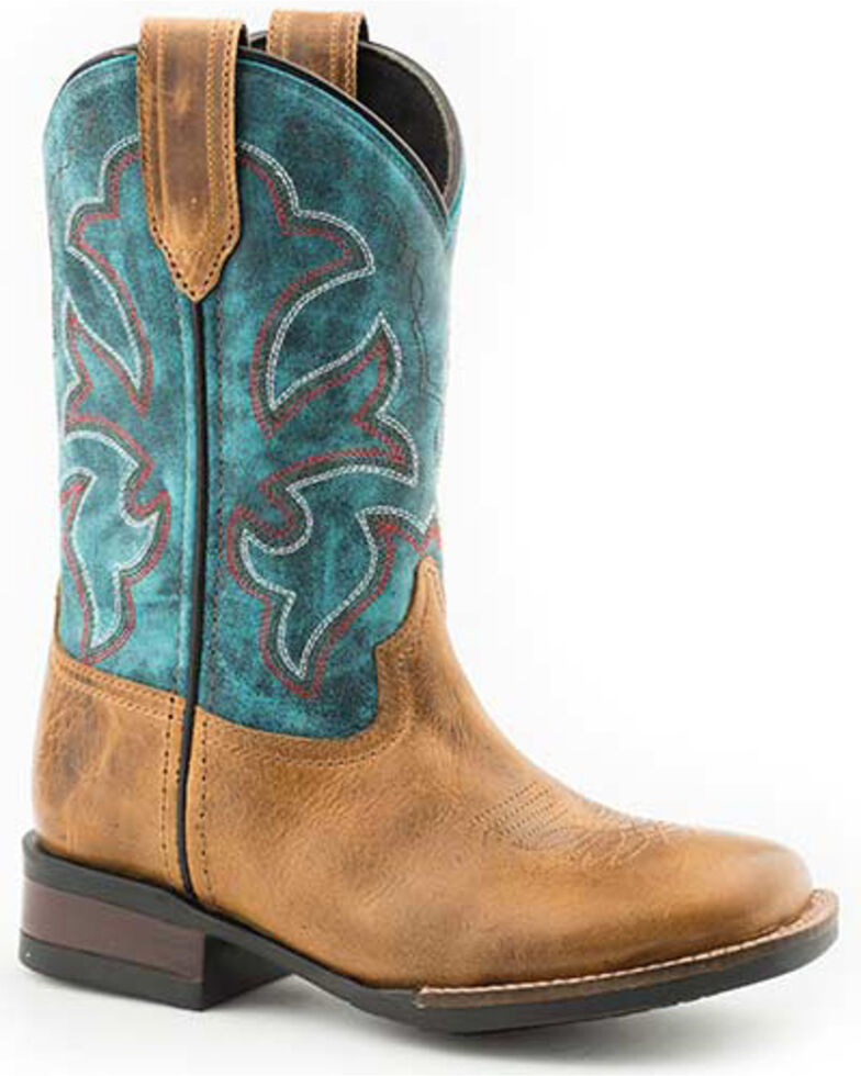 Roper Youth Girls' Monterey Western Boots - Square Toe, Tan, hi-res