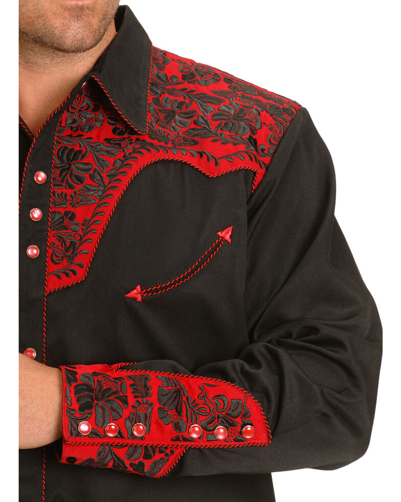 Scully Men's Red Embroidered Gunfighter Long Sleeve Western Shirt, Black/red, hi-res