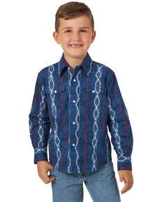 Wrangler Boys' Navy Aztec Striped Long Sleeve Western Shirt , Navy, hi-res