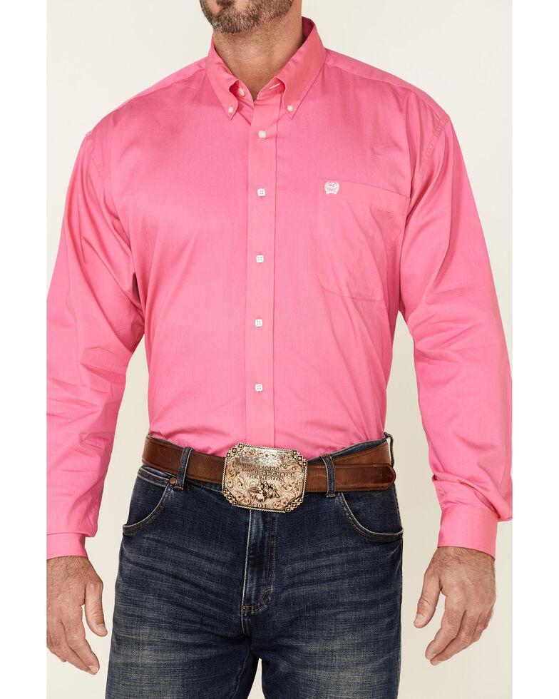 Cinch Men's Black Solid Button-Down Long Sleeve Western Shirt, Pink, hi-res
