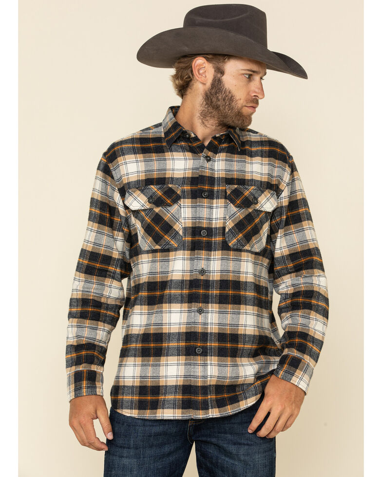 Pendleton Men's Navy Burnside Small Plaid Long Sleeve Western Flannel Shirt , Navy, hi-res