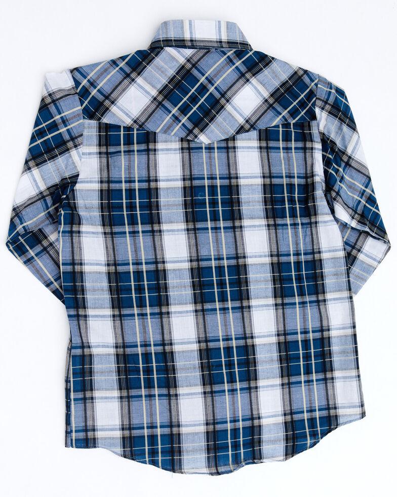 Ely Walker Boys' Dobby Plaid Long Sleeve Western Shirt , Navy, hi-res