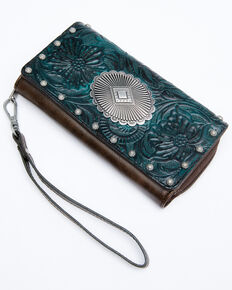 Shyanne Women's Cassidy Turquoise Tooled Crossbody Cell Phone Wallet, Chocolate/turquoise, hi-res
