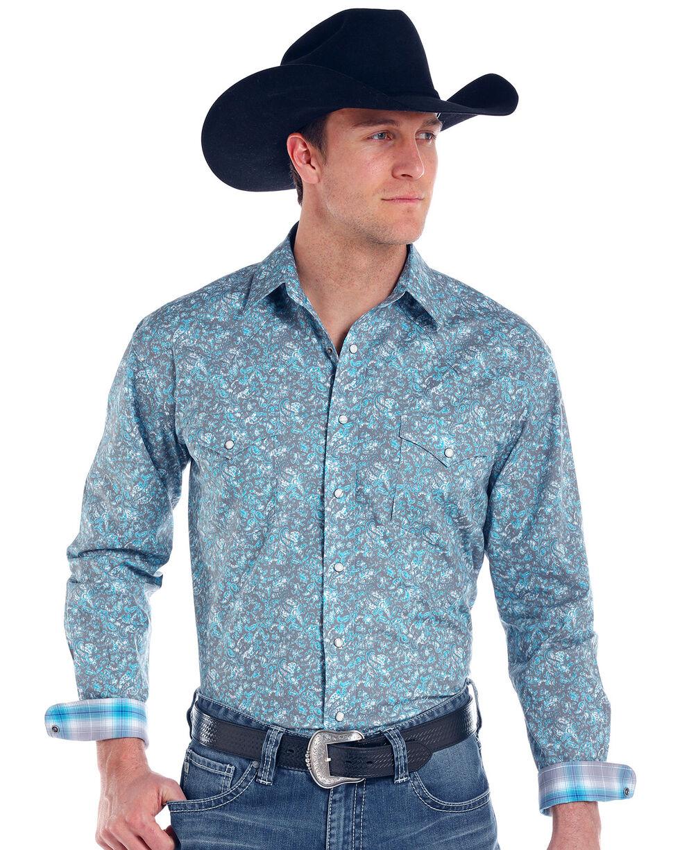 Panhandle Men's Print Rough Stock Lavaca Vintage Long Sleeve Shirt , Grey, hi-res