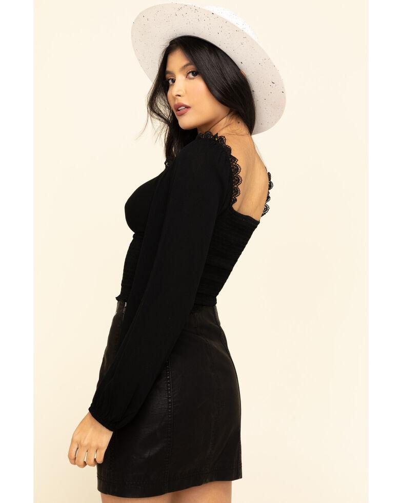 ILLA ILLA Women's Black Lace Trim Top, Black, hi-res