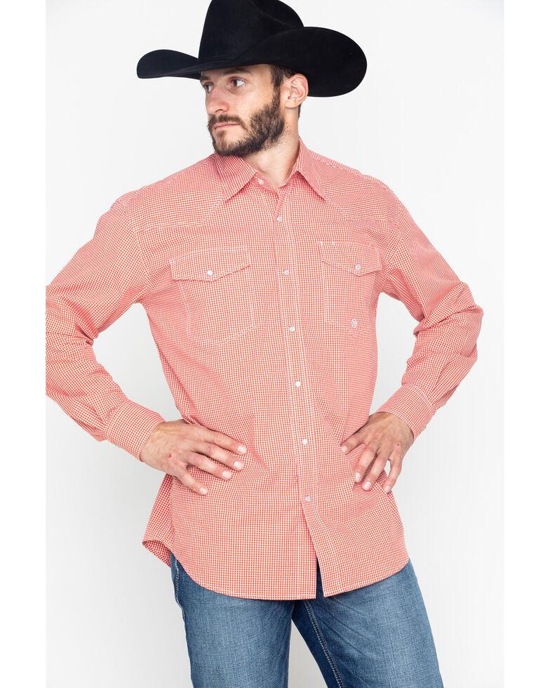 Roper Men's Indigo Blues Mini Check Plaid Long Sleeve Shirt , Orange, hi-res
