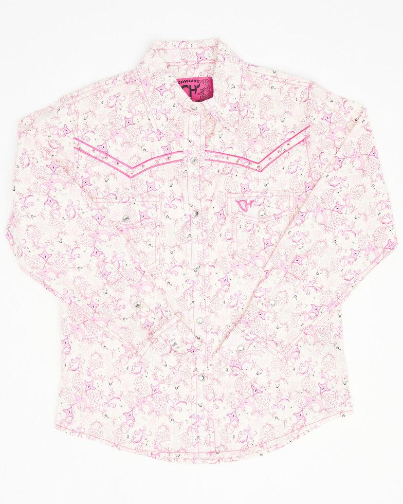 Cowgirl Hardware Girls' Ivory Pink Paisley Print Long Sleeve Western Shirt , Pink, hi-res