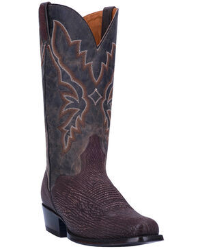 El Dorado Men's Sanded Shark Western Boots - Snip Toe , Chocolate, hi-res