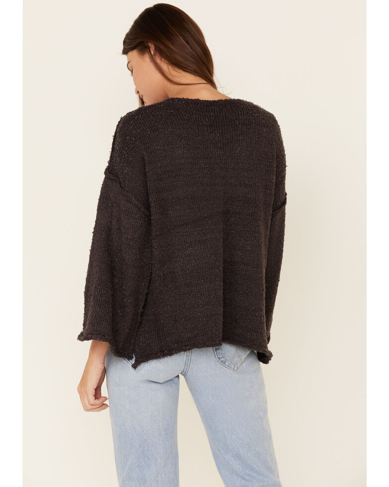 Very J Women's Knit Hi-Low Bell Sleeve Sweater , Charcoal, hi-res