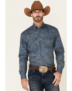 Roper Men's Storm Large Paisley Print Long Sleeve Button-Down Western Shirt , Blue, hi-res