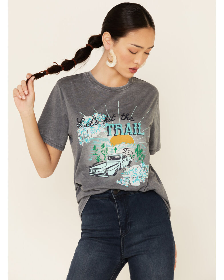 Ariat Women's Charcoal Burnout Trail Time Graphic Tee , Charcoal, hi-res