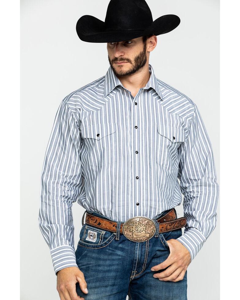 Rock & Roll Cowboy Men's Calistoga Dobby Plaid Long Sleeve Western Shirt , White, hi-res
