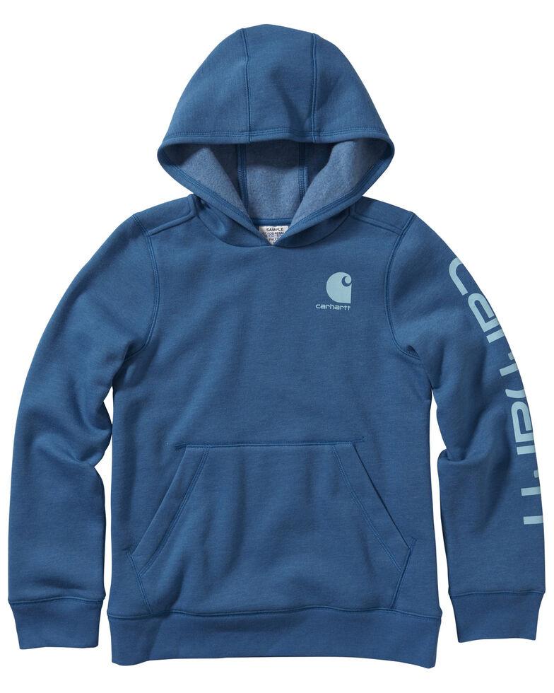 Carhartt Girls' Celestial Heather Fleece Logo Sweatshirt, Teal, hi-res