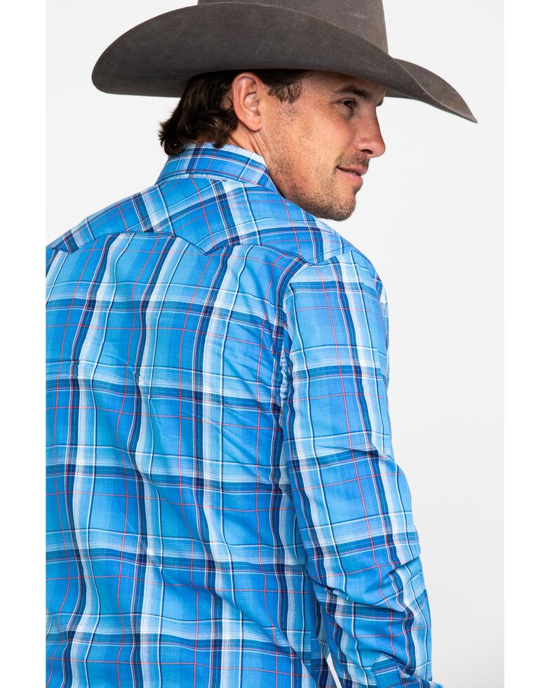 Wrangler Retro Men's Blue Large Plaid Long Sleeve Western Shirt , Blue, hi-res