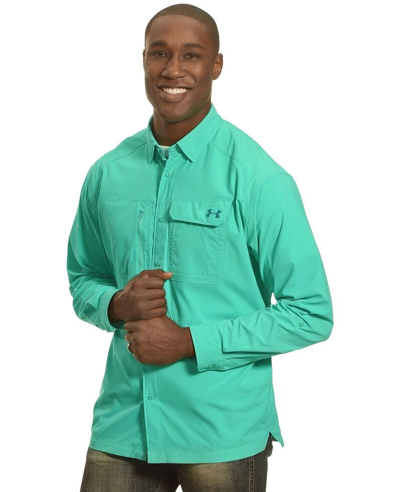 Under Armour Men's Fish Hunter Long Sleeve Shirt , Turquoise, hi-res