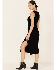 Elan Women's Rib-Knit Side Slit Bodycon Dress, Black, hi-res