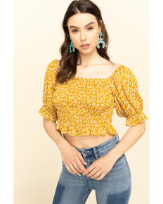 Loveriche Women's Floral Print Smocked Crop Top, Mustard, hi-res