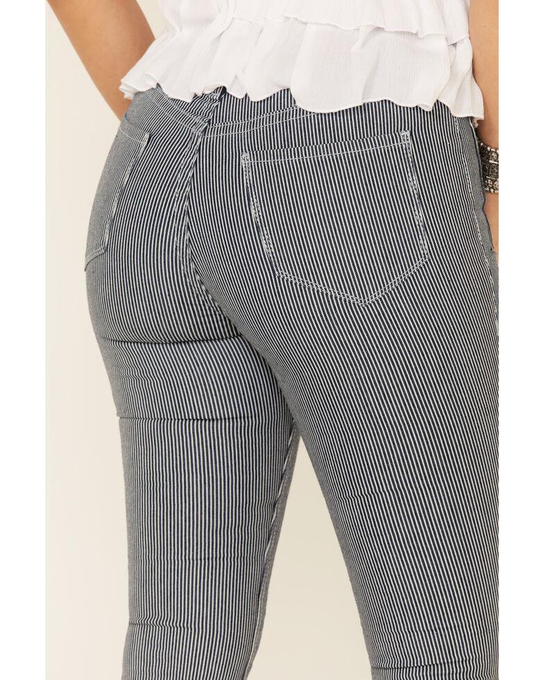 Rock & Roll Denim Women's Pinstripe High-Rise Flare Jeans, Dark Blue, hi-res