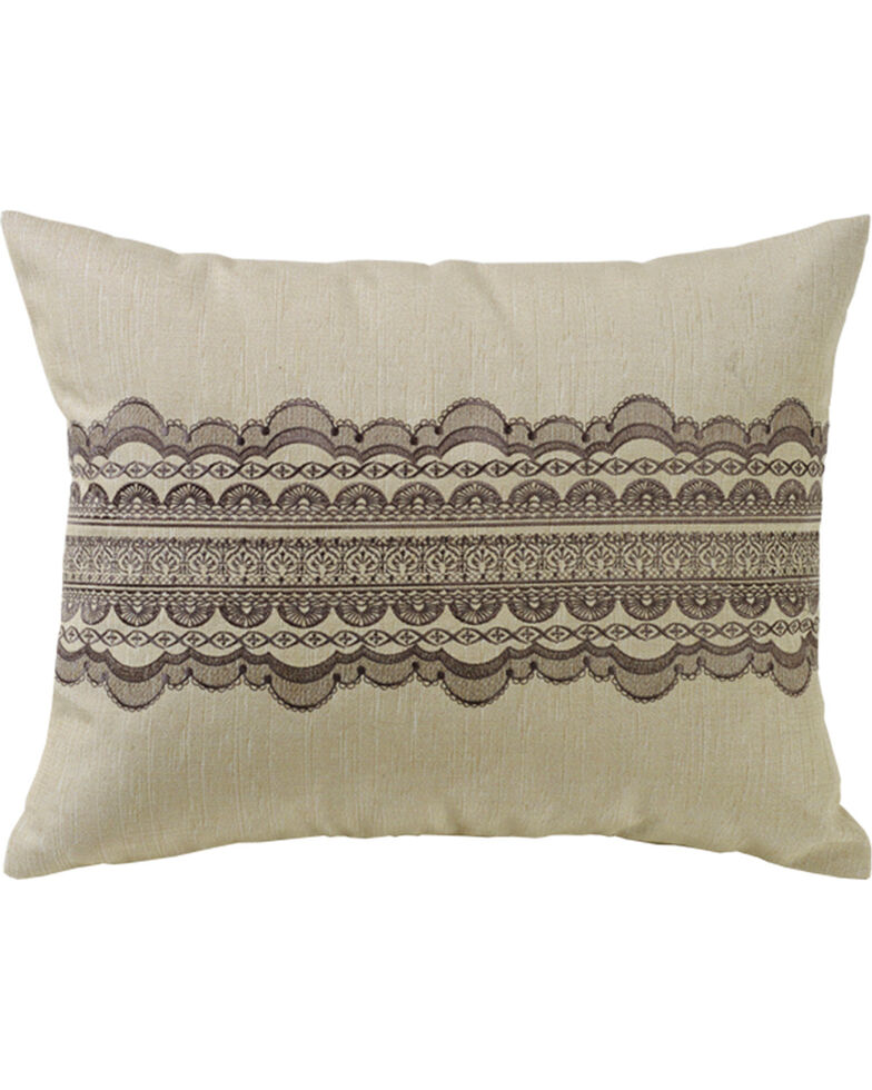 HiEnd Accent Burlap and Scallop Lace Design Pillow , Cream, hi-res