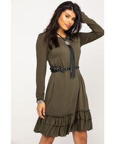 White Label by Panhandle Women's Ruffle Swing Dress, Olive, hi-res
