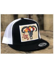 Lazy J Ranch Wear Women's Black & White Skull Flower Patch Mesh-Back Ball Cap, Black, hi-res