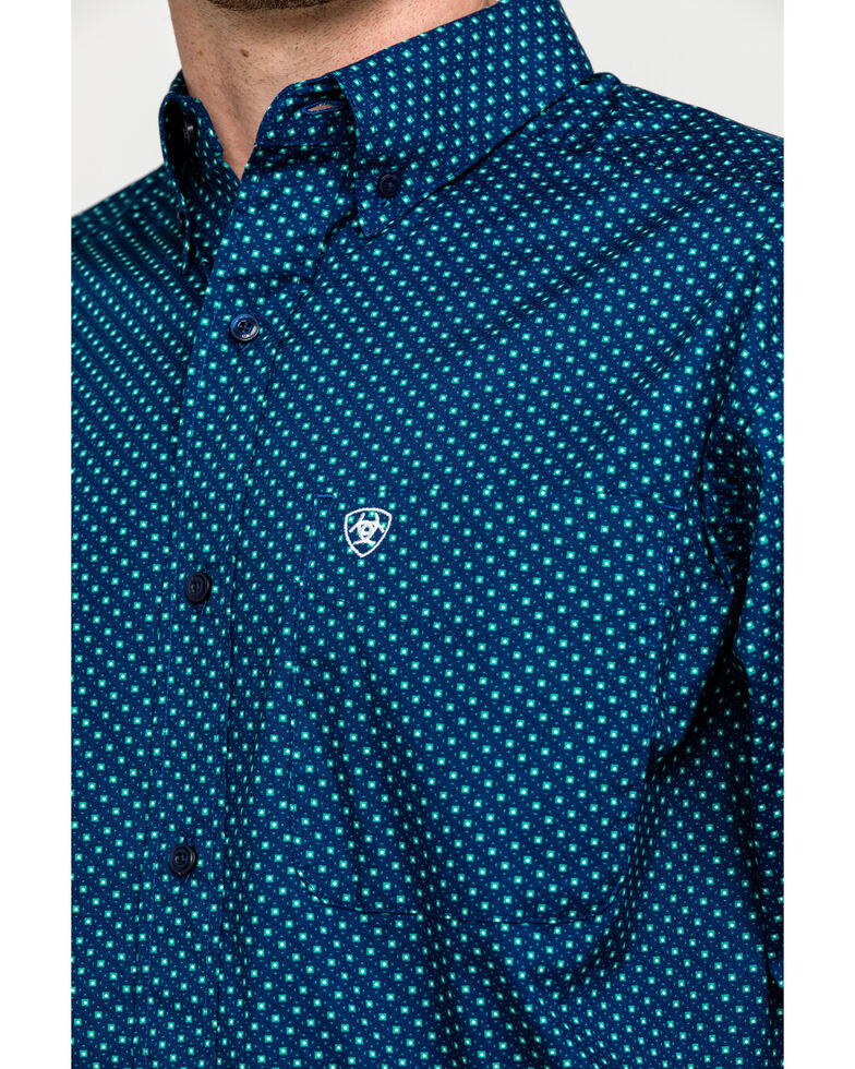 Ariat Men's Rosano Stretch Geo Print Long Sleeve Western Shirt , Blue, hi-res