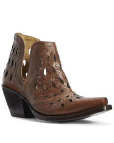 Ariat Women's Amber Dixon Studded Fashion Booties - Snip Toe, Brown, hi-res
