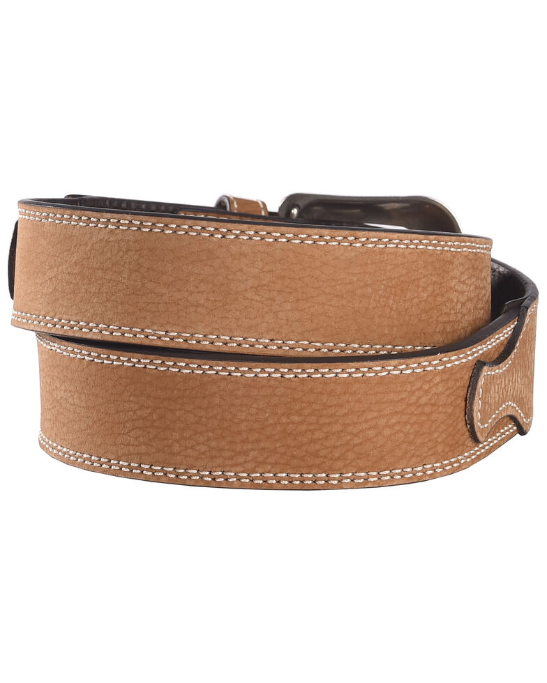 G Bar D Men's Brown Leather Belt, Brown, hi-res