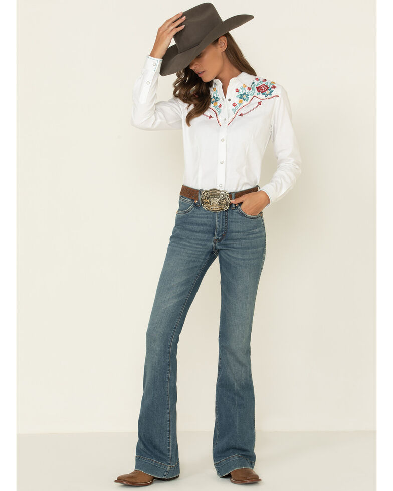 Rough Stock by Panhandle Women's White Floral Embroidery Western Shirt , White, hi-res