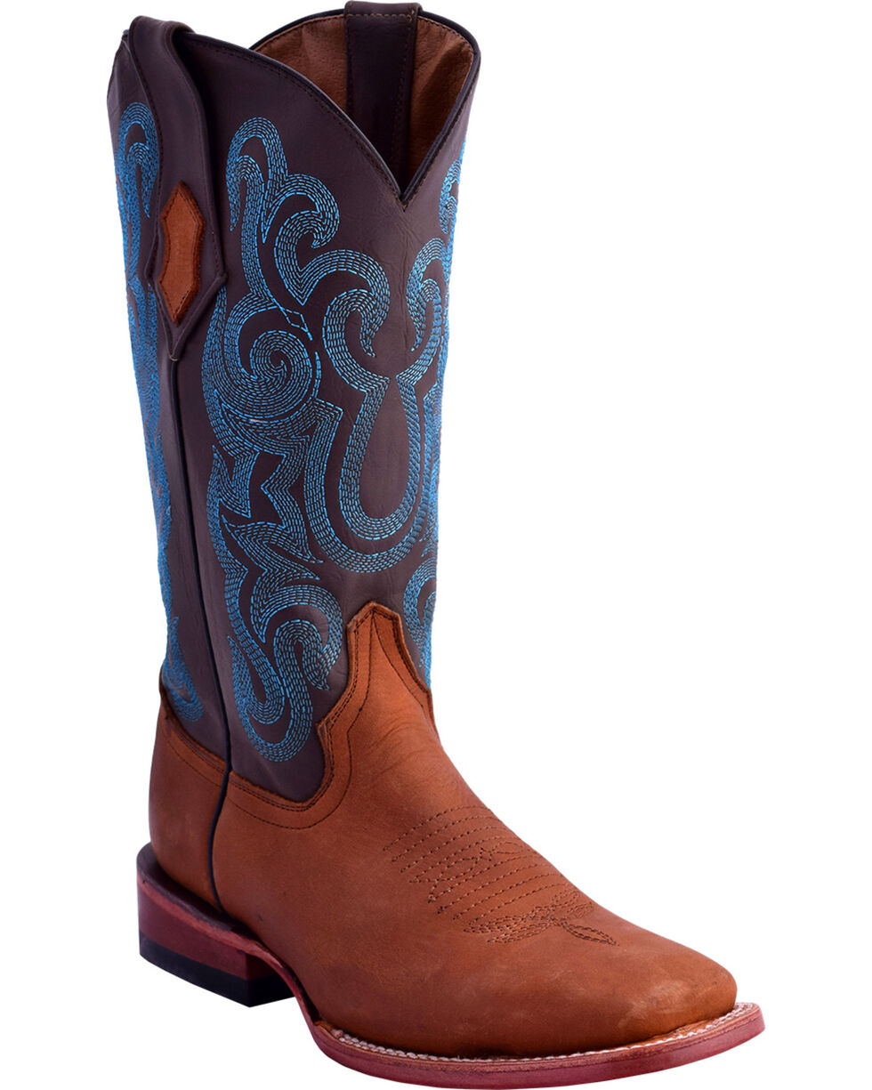 Ferrini Women's Maverick Blue Embroidery Western Boots - Square Toe , Brown, hi-res