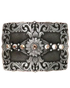 AndWest Women's Floral & Rhinestones Rectangle Belt Buckle, Silver, hi-res