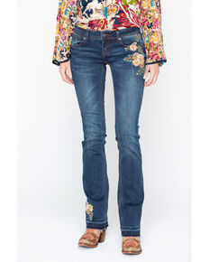 Grace In LA Women's Floral Embroidered Boot Cut Jeans, Indigo, hi-res