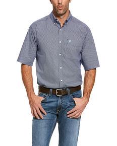 Ariat Men's Reeves Multi Geo Print Short Sleeve Western Shirt - Tall , Blue, hi-res