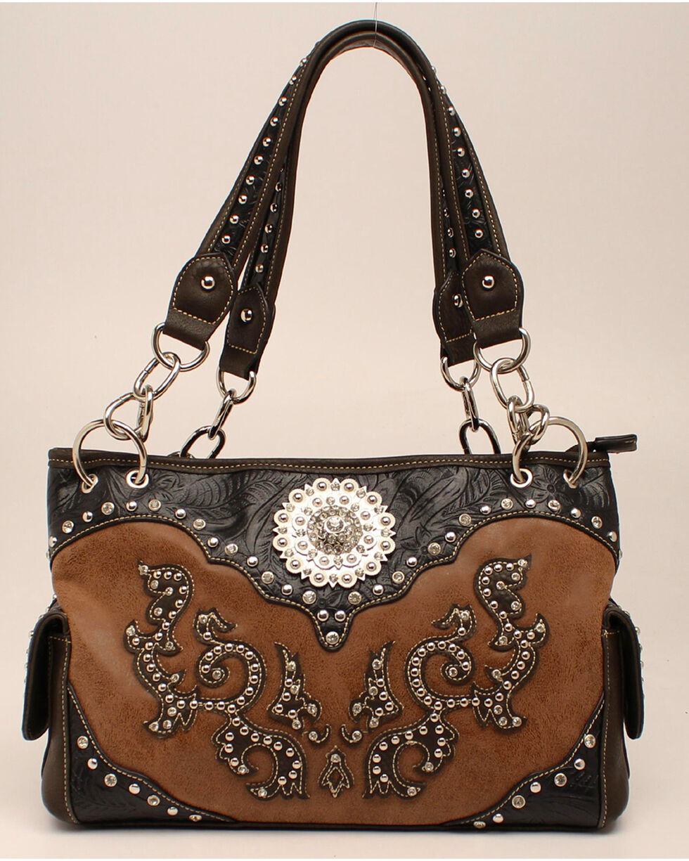 Blazin Roxx Scroll Overlay Concho Satchel, Tan, hi-res