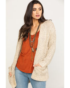 HYFVE Women's Sand Chunky Knit Button Cardigan, Tan, hi-res