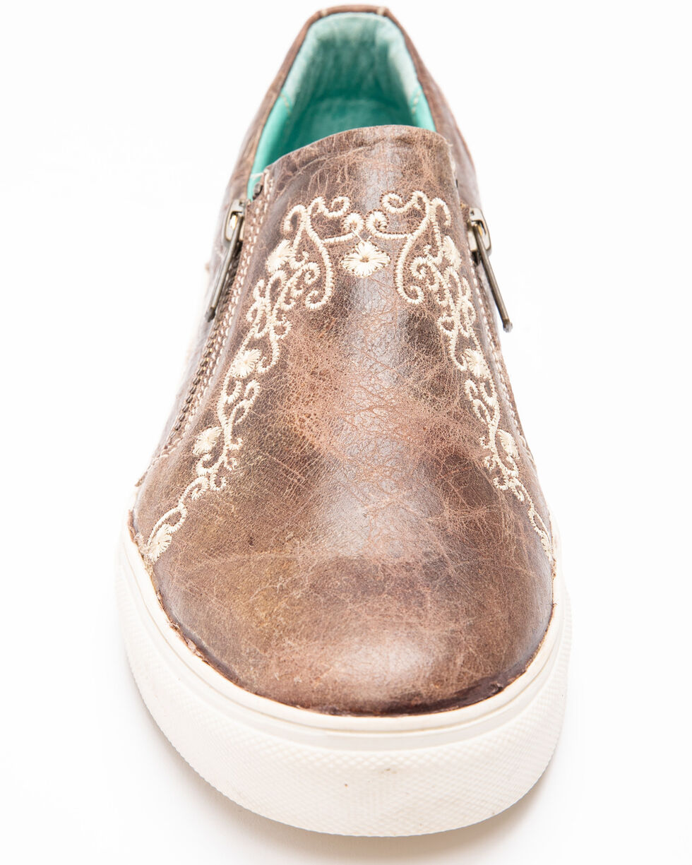 Corral Women's Bone Crater Inlay Embroidered Shoes, Brown, hi-res