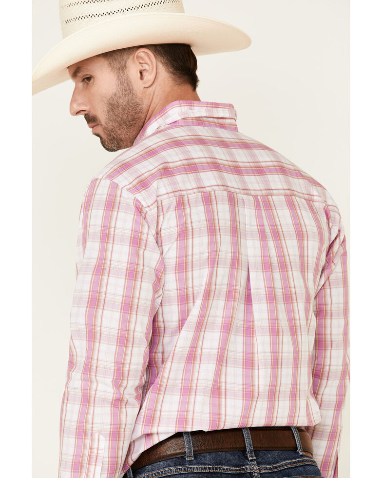 Wrangler Men's Classic Purple Large Plaid Long Sleeve Western Shirt , Purple, hi-res