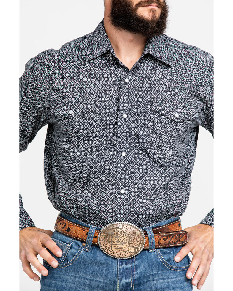 Roper Men's Diamond Circle Geo Print Long Sleeve Western Shirt , Black, hi-res