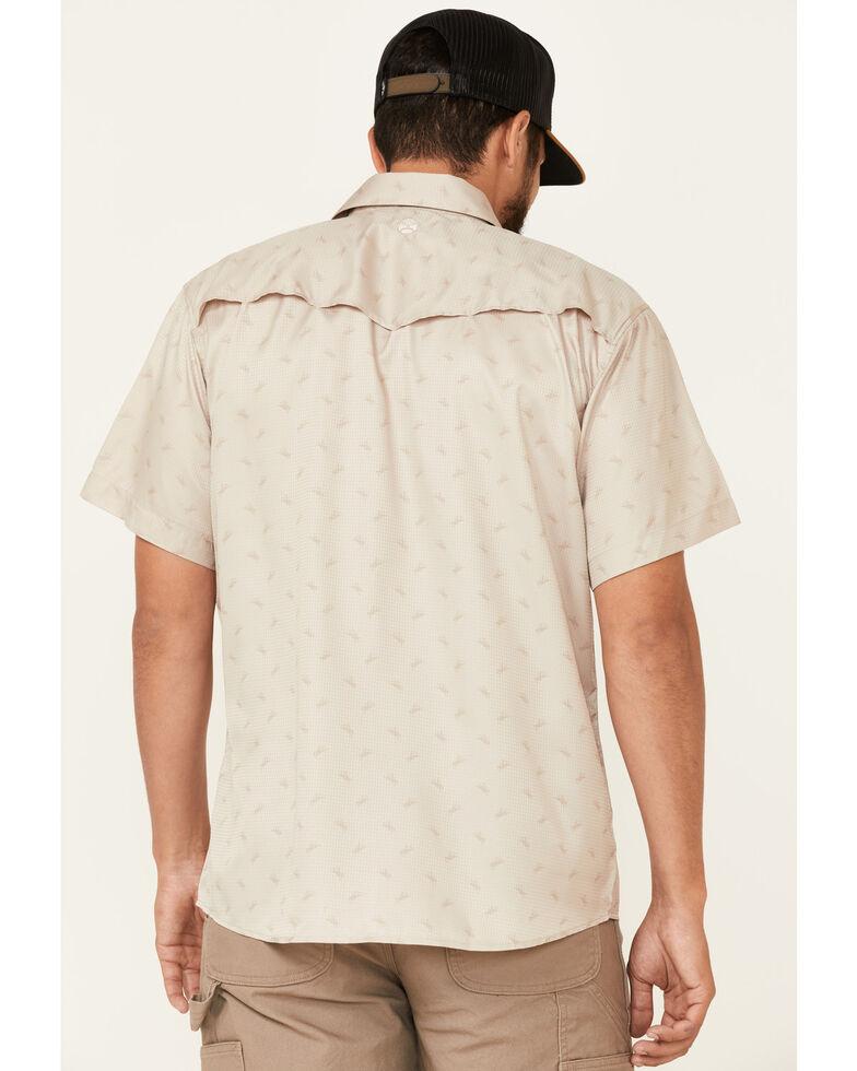 HOOey Men's Tan Punchy Print Habitat Sol Short Sleeve Snap Western Shirt , Tan, hi-res