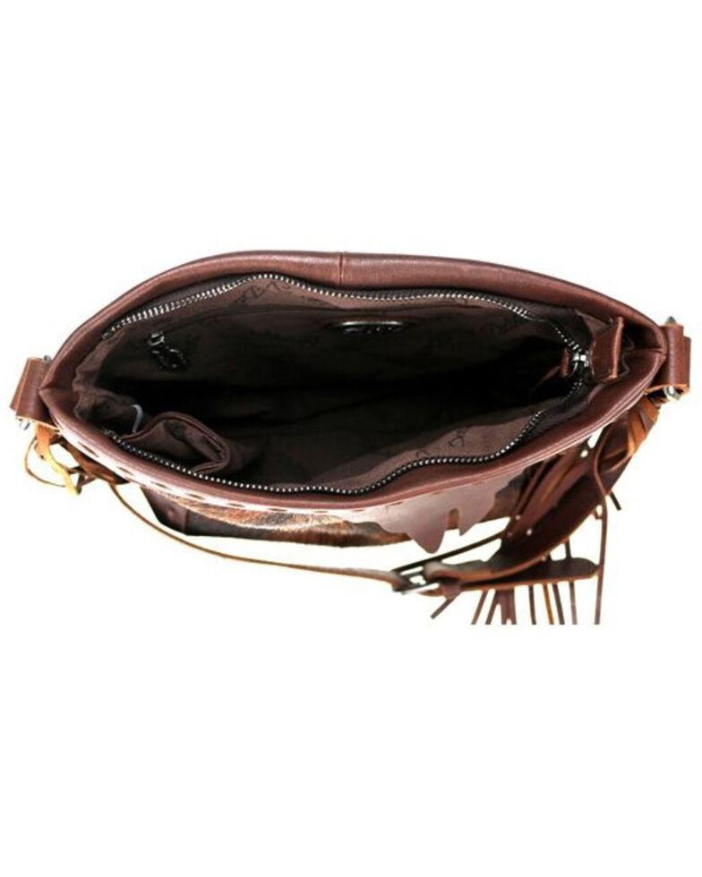 Delila Women's Coffee Leather Hair On Hide Crossbody, Coffee, hi-res