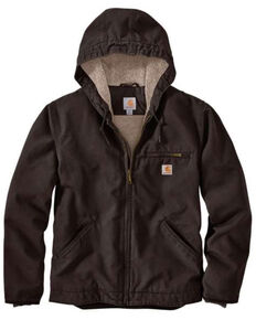 Carhartt Men's Washed Duck Sherpa Lined Hooded Work Jacket - Big & Tall , Dark Brown, hi-res
