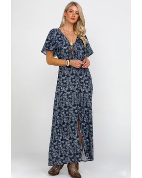Rock & Roll Cowgirl Women's Floral Print Front Knot Maxi Dress , Black, hi-res