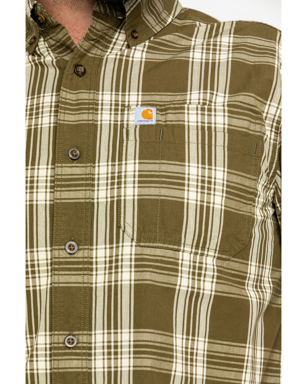Carhartt Men's Olive Essential Plaid Button Long Sleeve Work Shirt , Olive, hi-res