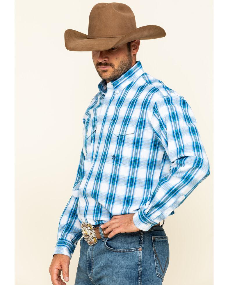 Roper Men's Amarillo Blue Brook Plaid Long Sleeve Western Shirt , Blue, hi-res