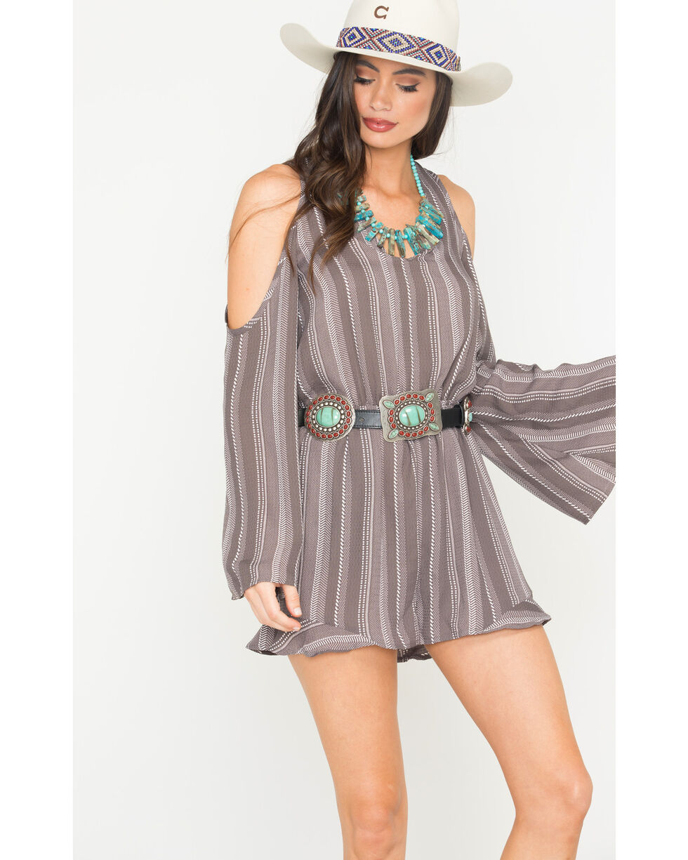 Sage the Label Women's Grey V-Neck Cold Shoulder Romper , Grey, hi-res