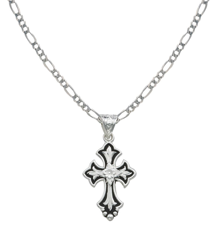 Montana Silversmiths Silver-Tone & Black Filigree Cross Necklace, Silver, hi-res