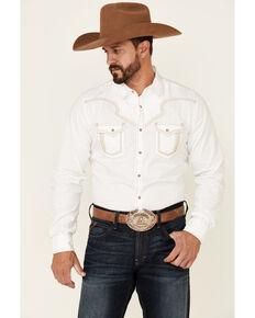 Rock 47 By Wrangler Men's Solid White Embroidered Long Sleeve Snap Western Shirt , White, hi-res