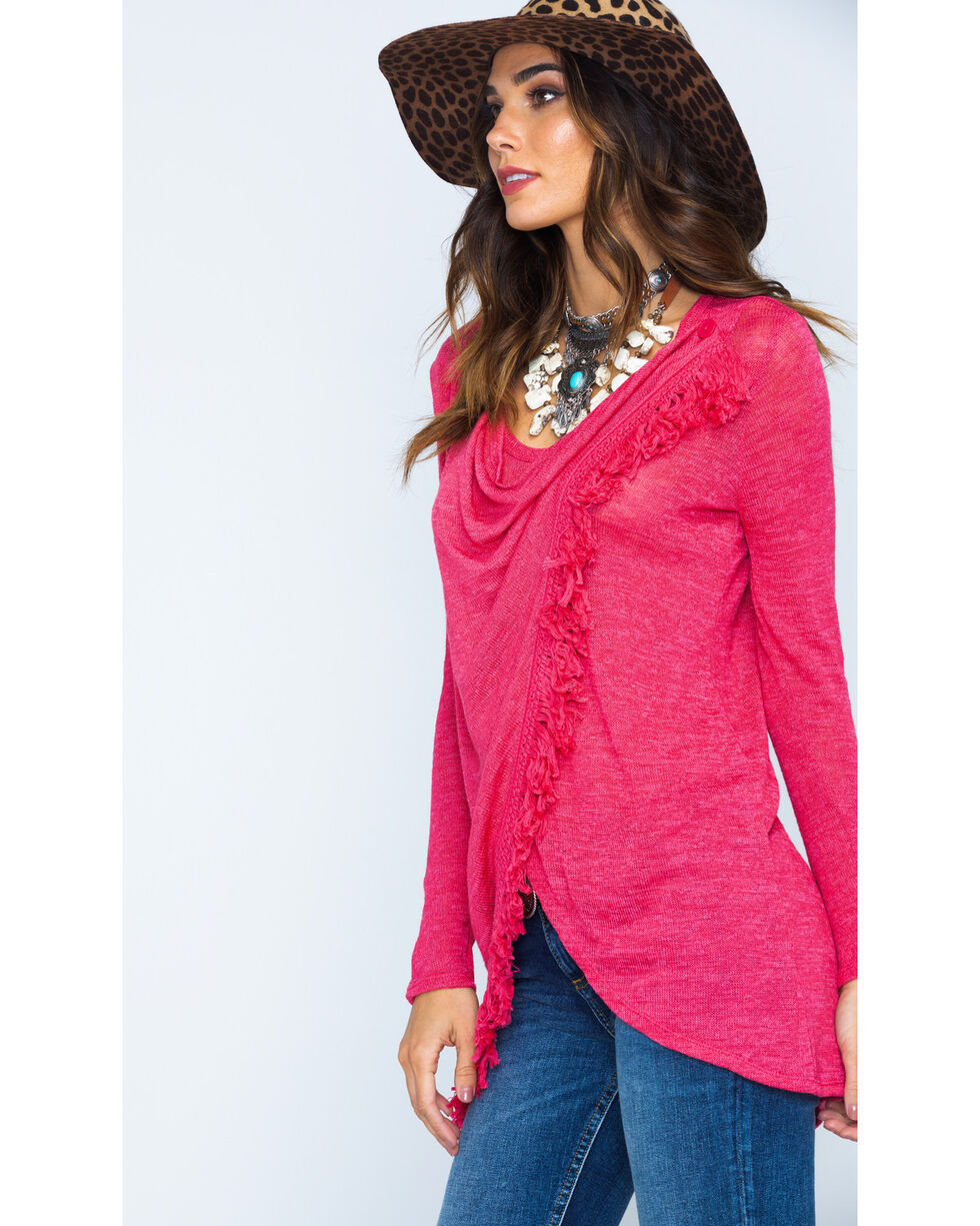 Wrangler Women's Asymmetrical Fringe Sweater, Coral, hi-res